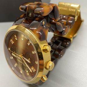 Michael Kors Chronograph Watch  Faux Tortoise Band